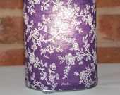 Lamp recycled purple floral fabric - table, pendant, swag, accent, nightlight