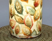 Lamp, fall leaves - upcycled fabric table or swag lamp in warm green, blue, orange and yellow