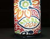 Lamp recyled floral - cheerful recycled floral fabric table or swag lamp in red, organge, green, blue, yellow