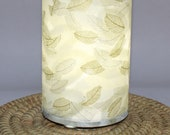 Lamp, gold and silver leaves or feathers - upcycled hamdmade paper table or swag lamp in gold, silver, cream, green, white and grey