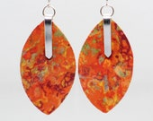 Fabric Leaf Earrings in mango madness colors - lightweight, marbled, 3D, silver, orange, yellow, green, red