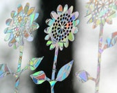 Sunflowers Rainbow Prism Window Decals - Set of 8, prevent bird strikes, reusable, magic forest