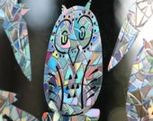 Birds Rainbow Prism Window Decals - Set of 8, static cling, reusable, prevent bird strikes, magic forest
