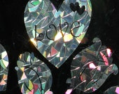 Hearts and Roses Rainbow Prism Window Decals - Set of 8, static cling, reusable, prevent bird strikes, magic forest