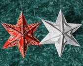 Origami Star Ornaments made from Vera Bradley paper - set of 2, Red and Silver