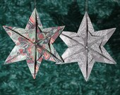 Origami Star Ornaments made from Vera Bradley paper - set of 2, Green and Pewter