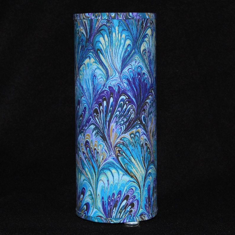 Lamp  marbled fabric  in purple blue green yellow black. image 0