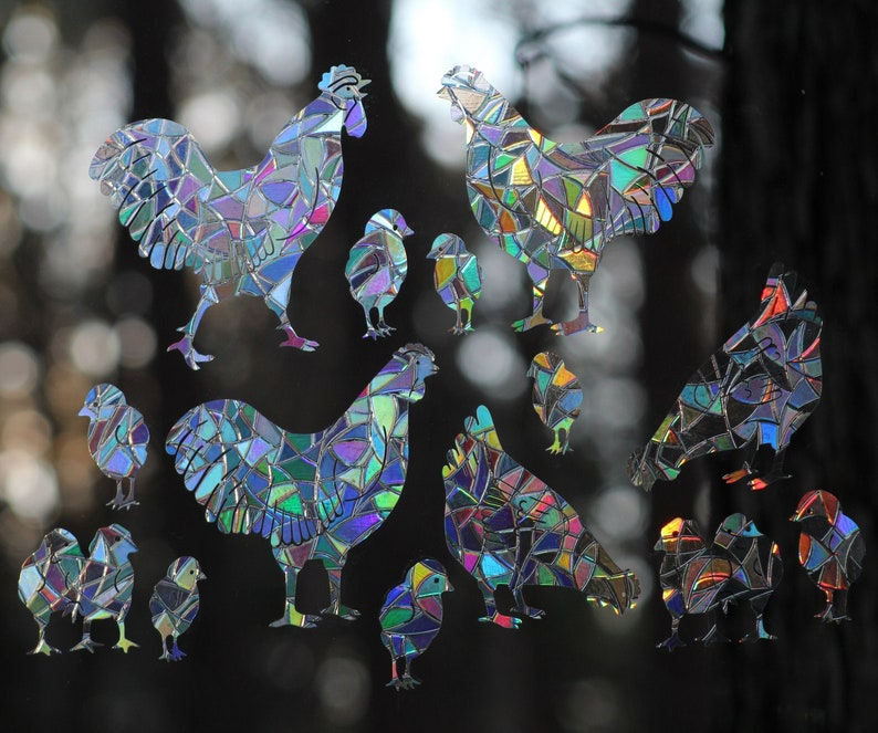 Chickens Rainbow Prism Window Decals  Set of 14 static image 0