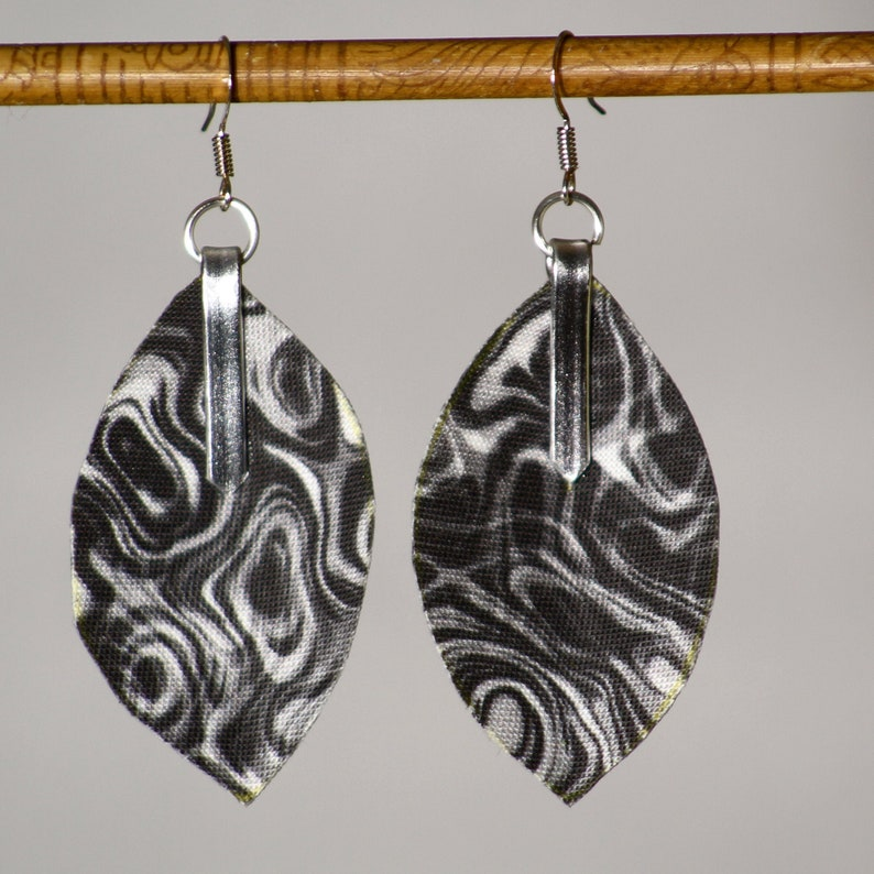 Earrings in zebra mrabled fabric  lightweight marbled 3D image 0