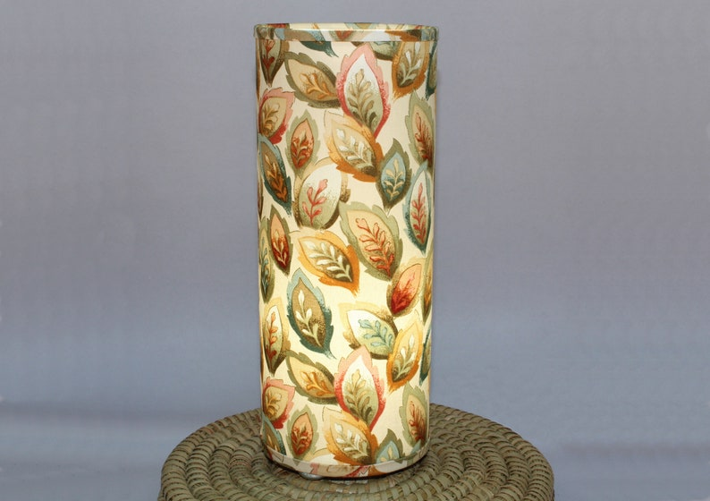 Lamp fall leaves  upcycled fabric table or swag lamp in warm image 0