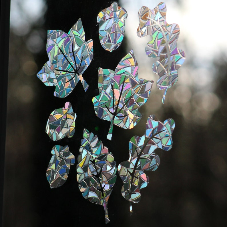 Leaves and Acorns Rainbow Prism Window Decals  Set of 8 image 0