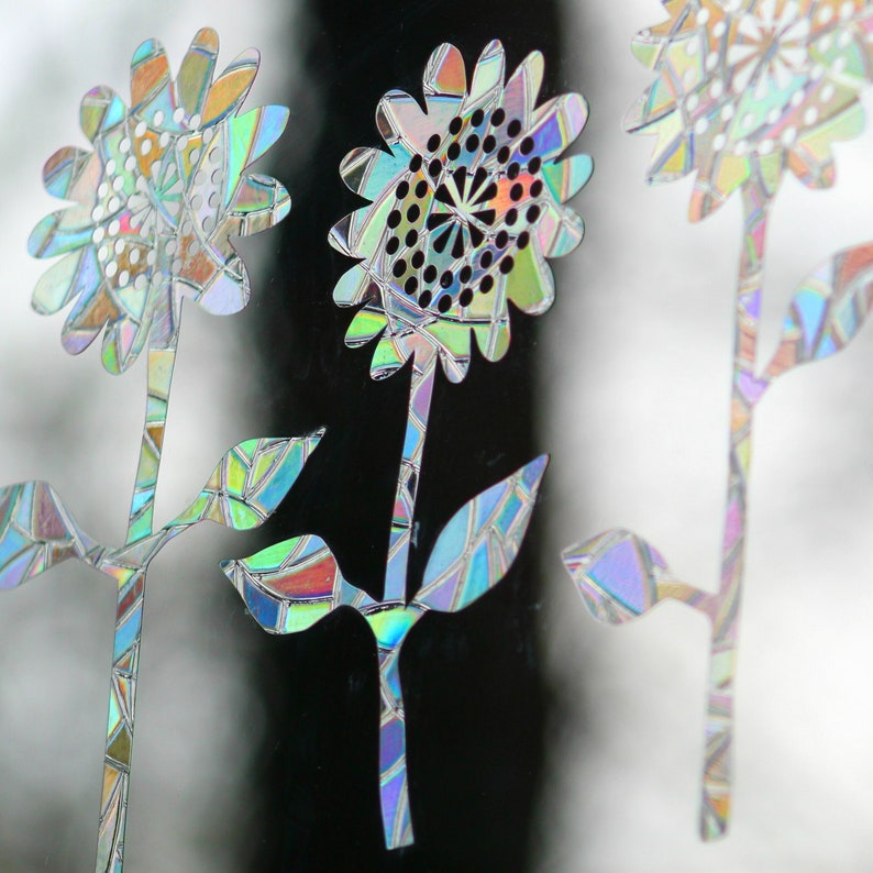 Sunflowers Rainbow Prism Window Decals  Set of 8 prevent image 0