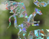 D&D Dragons, Beholder, Mimic, D8, D20 Rainbow Prism Window Decals - Set of 6, prevent bird strikes, reusable, phthalate-free, magic forest
