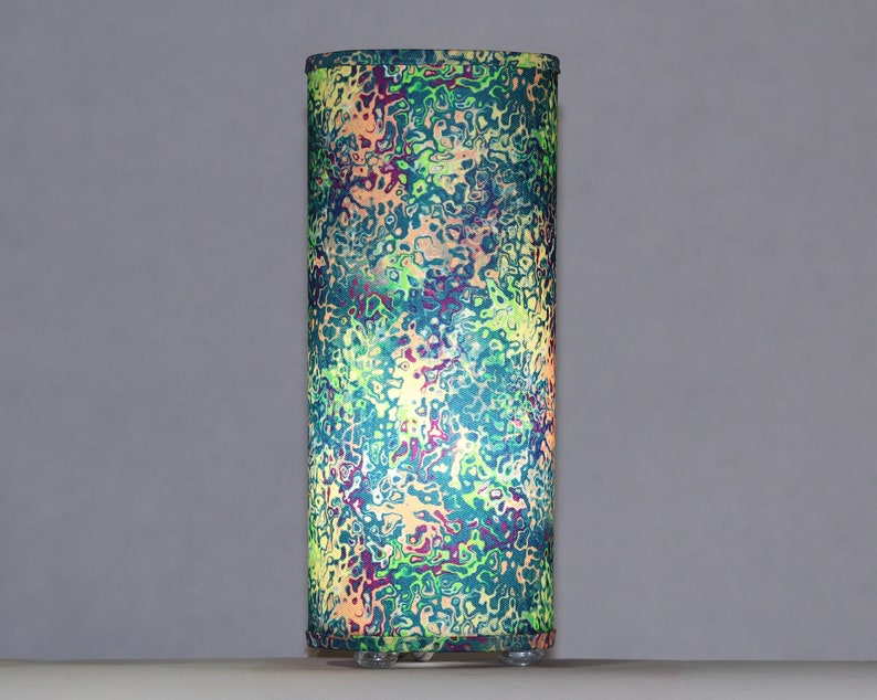 Lamp in tropical marbled fabric  table or swag lamp image 0