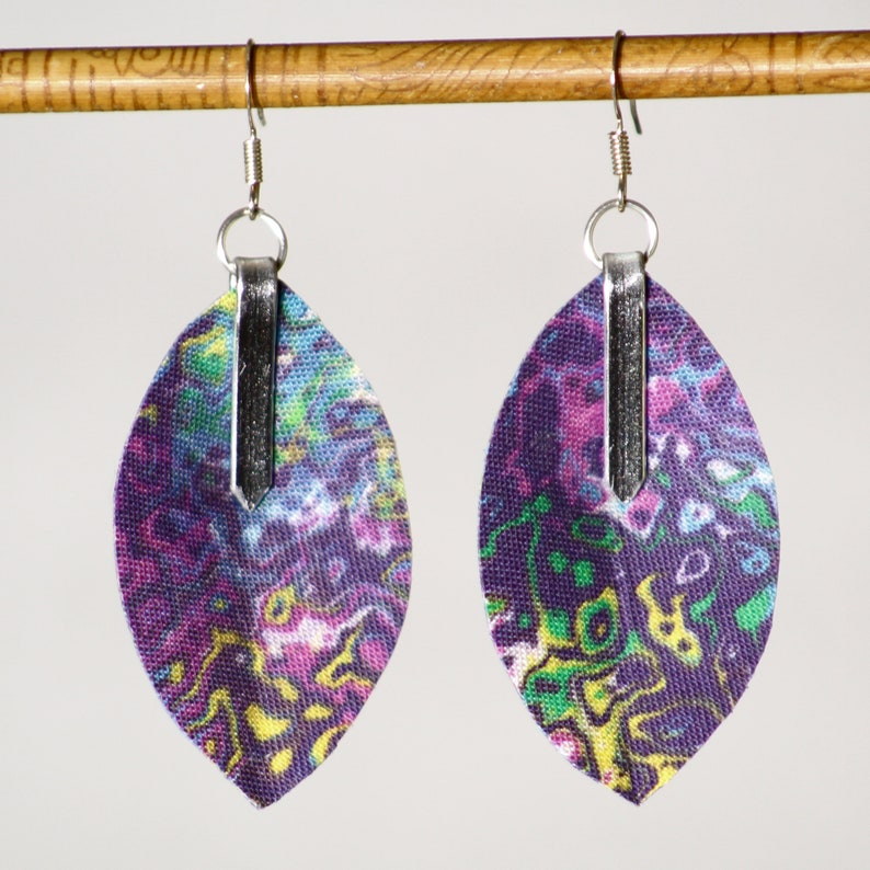 Earrings in passion flower marbled fabric   lightweight image 0