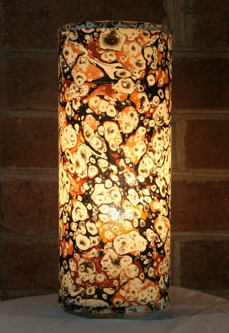 Lamp recycled abstract marbled earth tones  table pendant image 0
