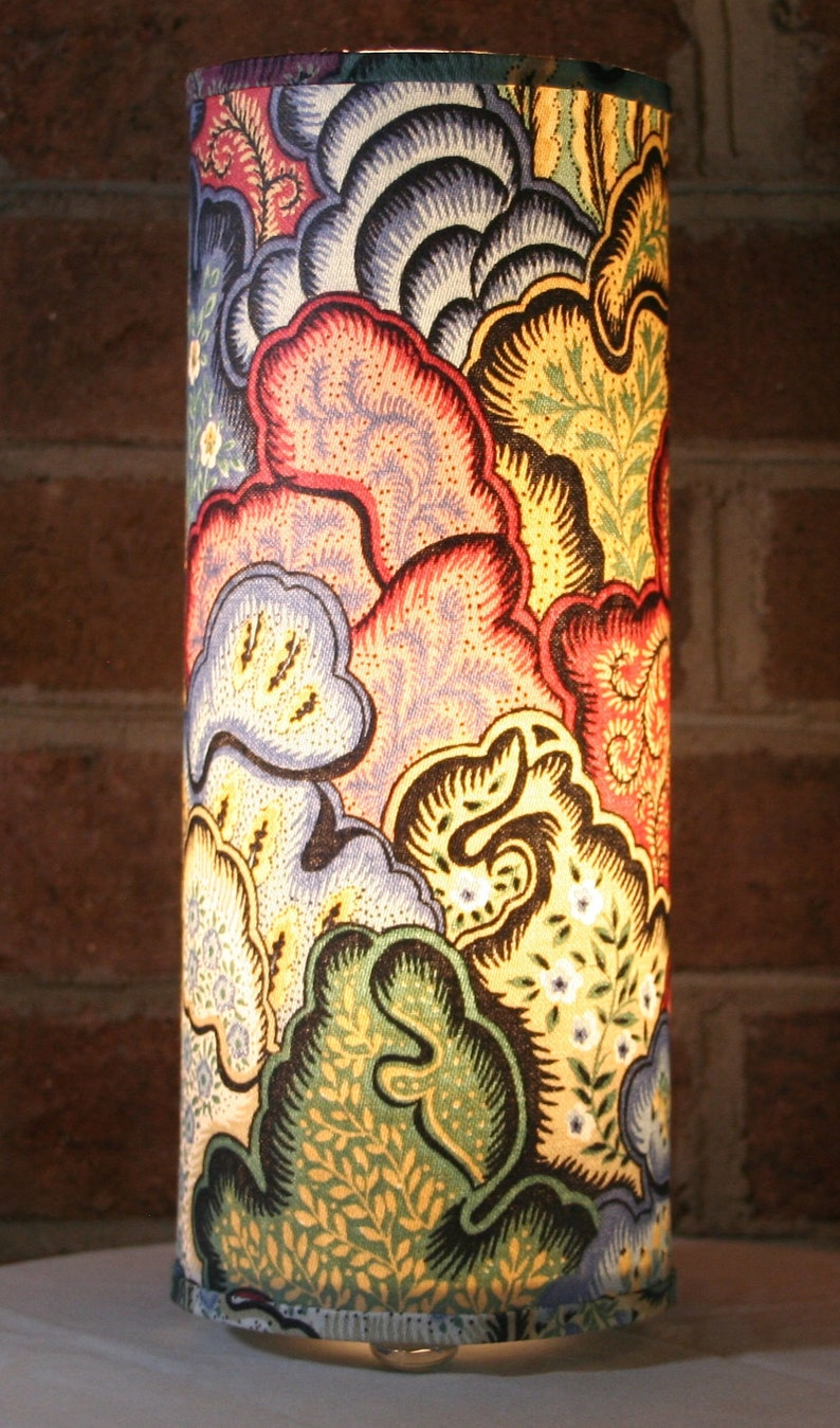 Lamp recycled abstract floral or coral fabric  table image 0