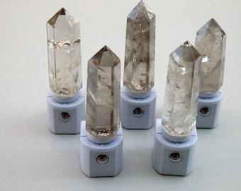 Smoky Quartz Crystal Obelisk Tower LED Gemstone Sensor Night Light - Smoky Quartz Wand/Geodes//Crystals//Minerals