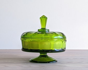 Vintage Candy Dish Candle in Emerald Green   Birch Candle   Green Depression Glass Candy Dish   Beeswax Candles