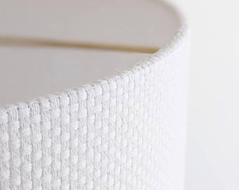 Handmade Lamp Shade | Custom Lamp Shade | Custom Lampshade |  Modern Lamp Shade | Drum Lamp Shade in White Crosshatch Fabric