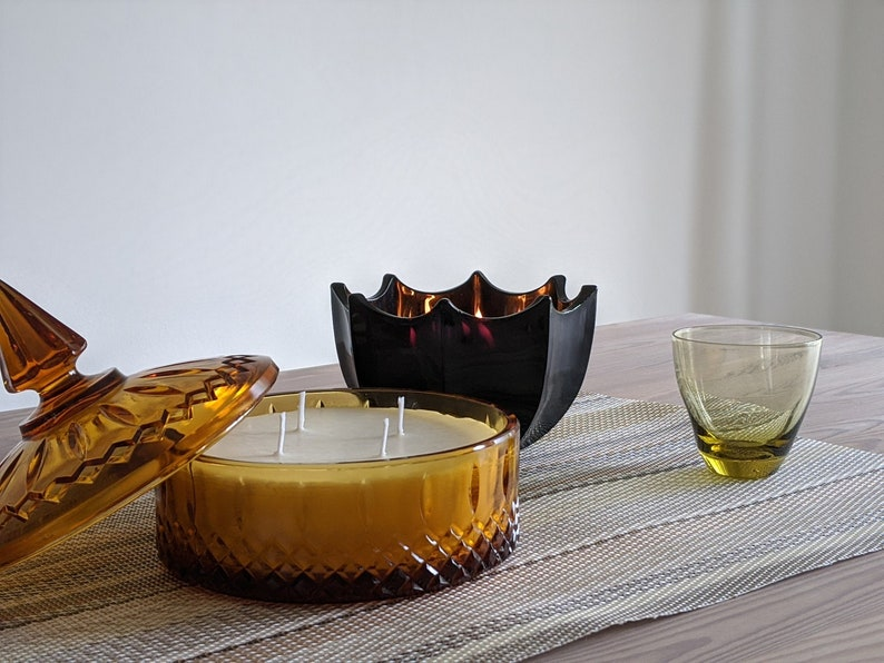 Vintage Chartreuse Glass Candle Russel Wright Imperial Pinch Glass Pinch Glass in Chartreuse