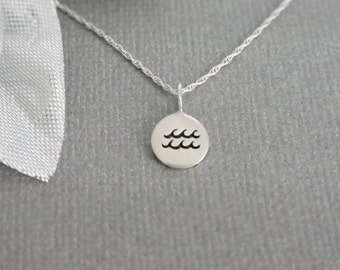 Waves Necklace- Water Symbol- All Sterling Silver- Swimmer Gift- Ocean-Lover Gift- Aquarius Symbol- Zodiac Sign