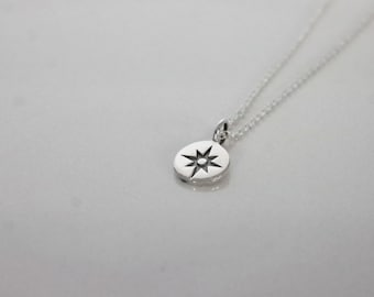 Compass Necklace- Sterling Silver- Traveler's Heart Necklace, Gift for Traveler, Gift for Grad, Wanderlust