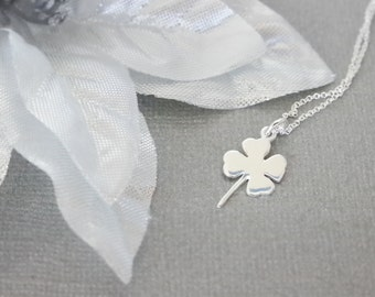 Lucky Clover- Four-Leaf Clover Charm- Sterling Silver- St. Patty's Day Charm- Clover Jewelry
