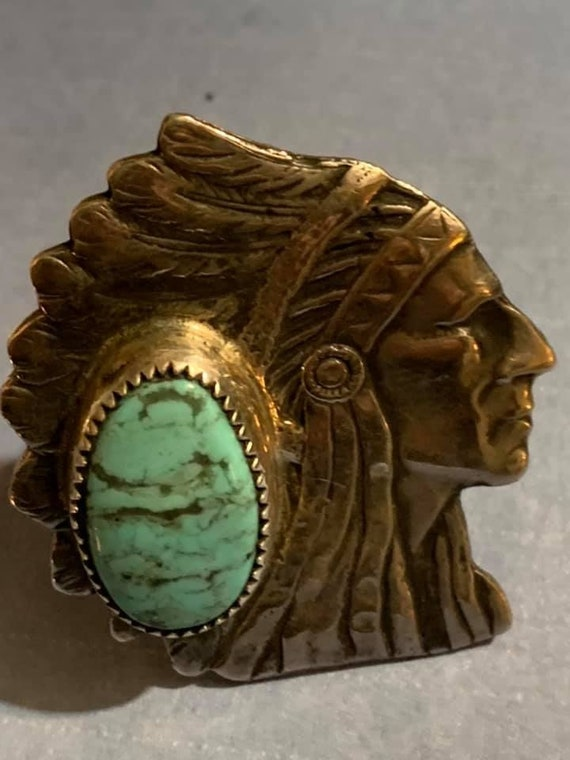 Indian chief turquoise ring - image 4