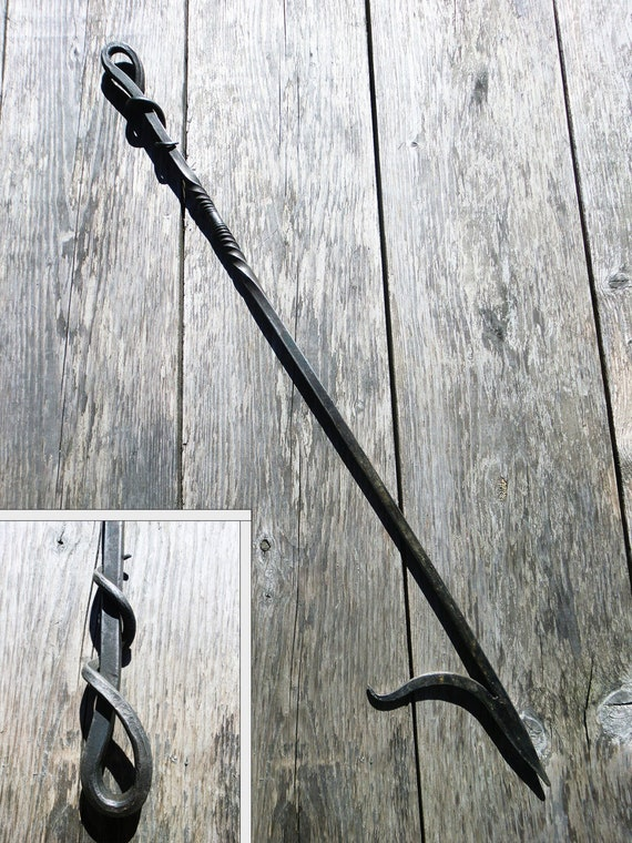 Hand Forged Fire Poker Wrought Iron Fireplace Tool Outdoor Etsy