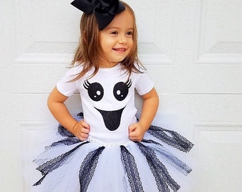 5fb23823c Ghost costume, ghost outfit, ghost tutu dress, Halloween tutu, Halloween  tutu set, gift for girls, baby ghost tutu