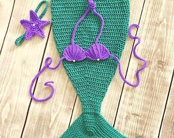 Mermaid tail, baby mermaid tail, newborn photo prop, first birthday outfit, mermaid costume, baby shower gift