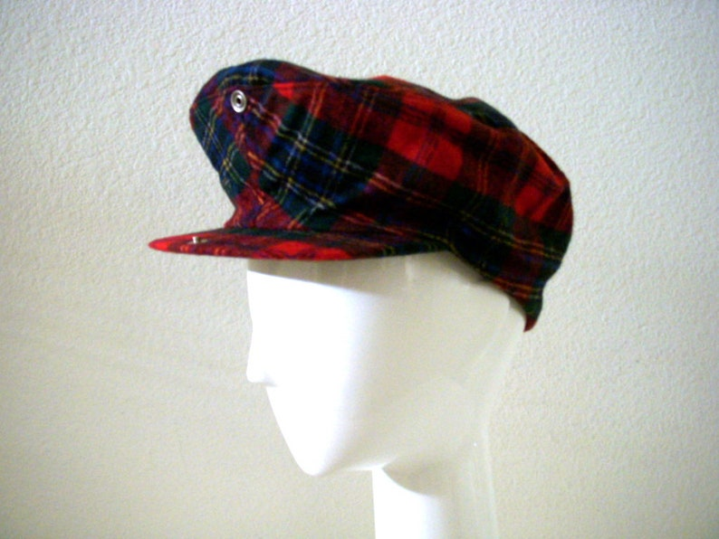 6fdc1828d Vintage Red Plaid PENDLETON Hat with Snap Bill - Unisex Men's Women's Red  Plaid Newsboy Cap - Plaid Wool Hipster Grunge Hat