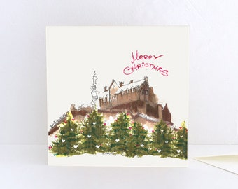Christmas Card, Merry Christmas from Edinburgh Castle, Scotland - Greeting Card