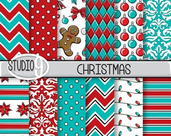 christmas digital paper red teal christmas pattern prints etsy