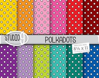 POLKADOTS Digital Paper: Polkadots Printable Pattern Prints, Polkadot Download, Polkadot Backgrounds Polkadots Scrapbook