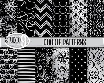 "Black & Silver DOODLE PATTERNS Digital Paper 12"" x 12"" Pattern Print, Instant Download, Patterns Backgrounds Scrapbook"