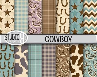 "COWBOY Digital Paper: ""VINTAGE COWBOY"" Pattern Prints, Cowboy Download, Cowboy Backgrounds Cowboy Scrapbook Patterns"