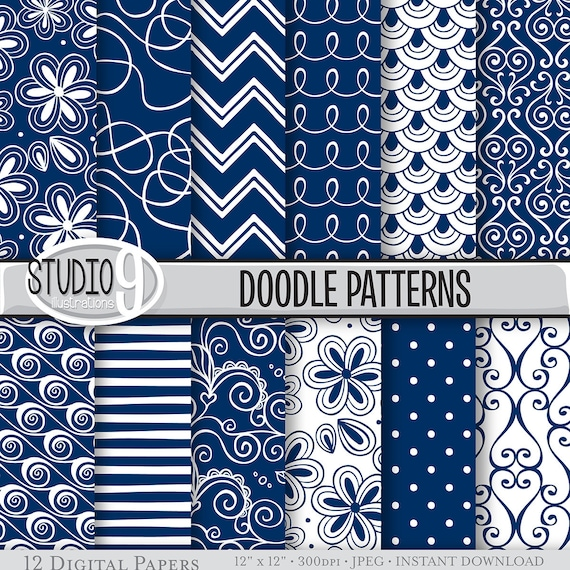 Navy Blue Digital Paper Navy Blue DOODLE PATTERNS Printable Etsy Interesting Doodle Patterns