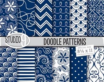 "Navy BLUE DOODLE PATTERNS Digital Paper 8 1/2"" x 11"" Pattern Print, Instant Download, Patterns Backgrounds Scrapbook"