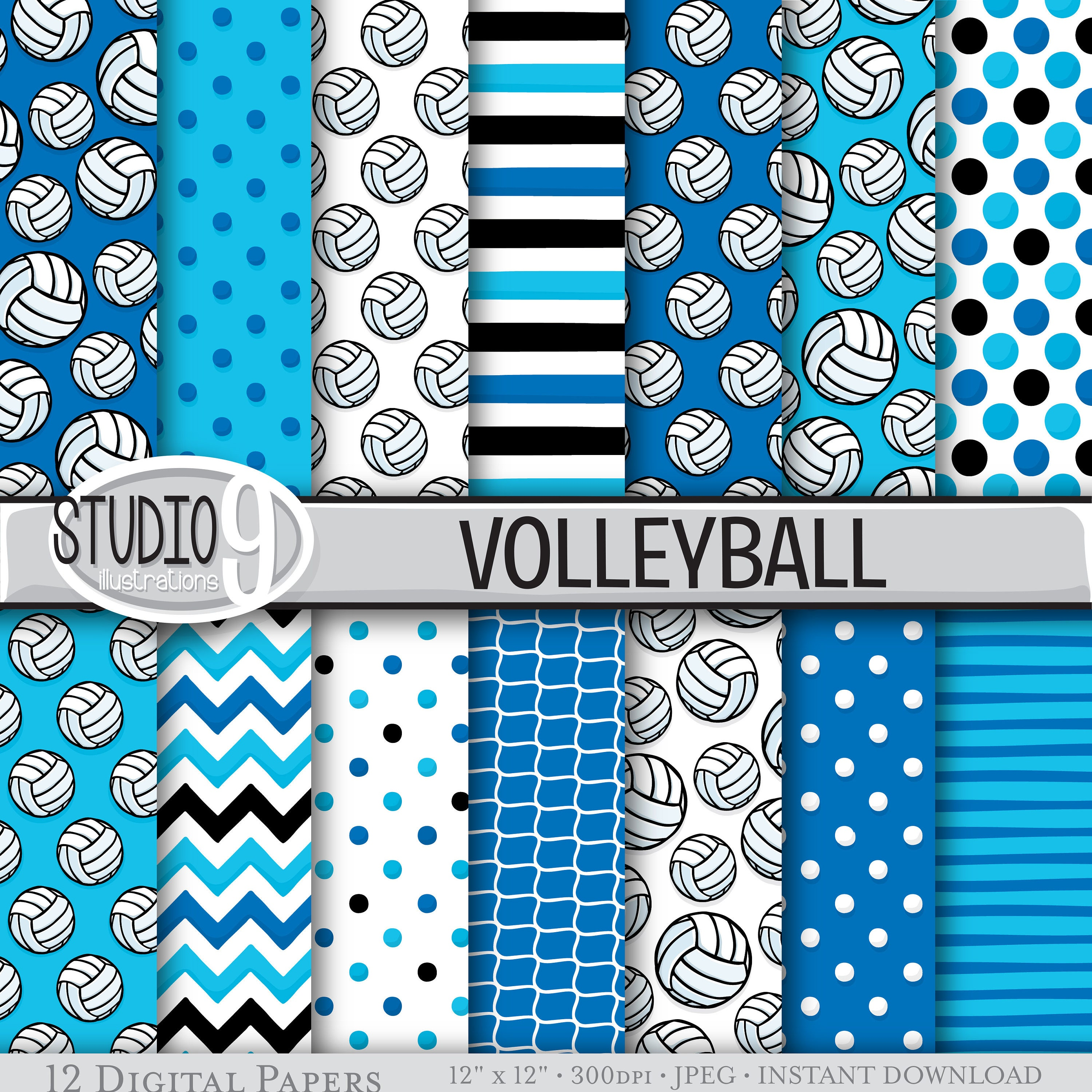 BLUE VOLLEYBALL Digital Paper / Volleyball Printable Patterns | Etsy