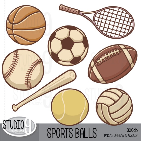 sports clip art vintage sports balls clipart etsy rh etsy com balls clipart for preschool ball clip art black and white