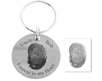 Square Keychain Rustic Metal Keychain Fingerprint Memorial Gift Sympathy Gift Fingerprint Keychain Custom Fingerprint Gift for Men