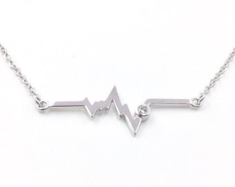 Electrocardiogram EKG Rhythm Sterling Silver Heart Beat Necklace Gift for Doctor Nurse Firefighter Paramedic EMT Medical Nursing graduation