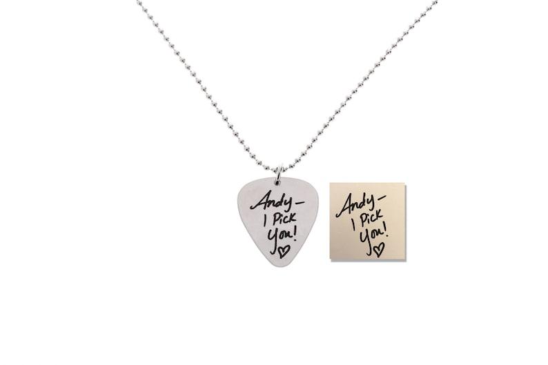 gift for music teacher gift for musician Handwriting guitar pick handwritten gifts Custom Music Guitar Pick Necklace guitar gifts