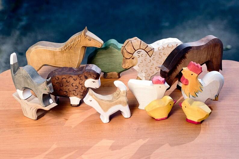 Farm Friends 10 Piece Play Set Organic Maple Wooden Toys