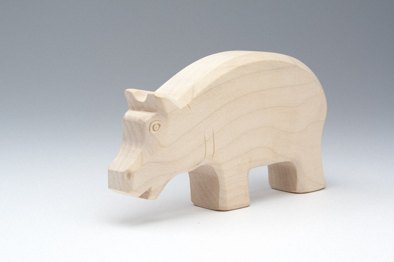 Wooden Kids Toys Animals Wooden Figurines Animal Zoo Wood Toy Hippo Wood Hippo Toy Natural Toys Animal Statue Hippo Figurine