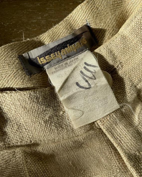 Vintage 1980s Issey Miyake Cream Plaid Linen High… - image 4