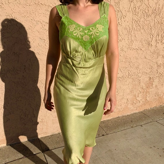 Vintage 40s Chartreuse Lace and Satin Slip Dress S