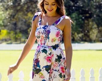 75baff6570f35 Floressa - Allie Smocked Nursing Maternity Floral Baby Shower Dress